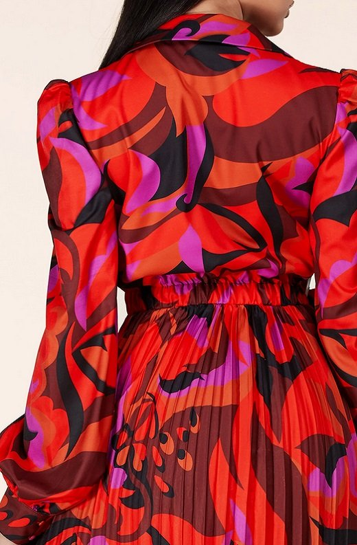 Red Abstract Plunging Tie Front Maxi Dress 5