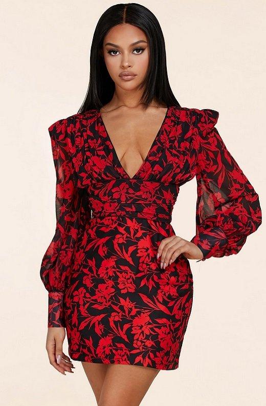 Red Floral V Neck Long Sleeve Pencil Dress 1