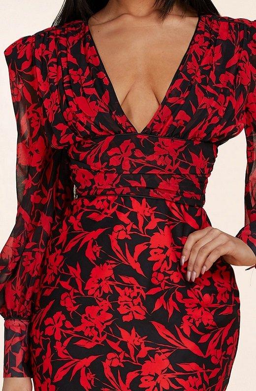 Red Floral V Neck Long Sleeve Pencil Dress 4