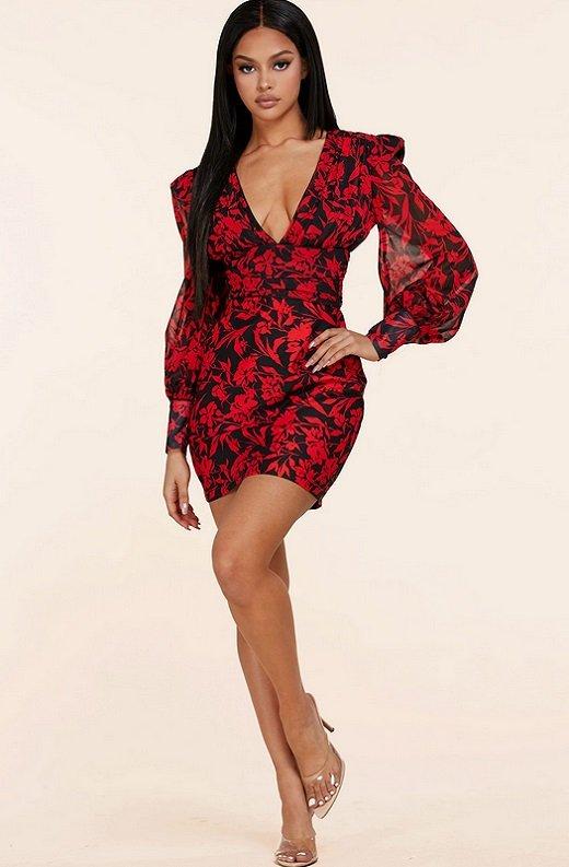 Red Floral V Neck Long Sleeve Pencil Dress 6