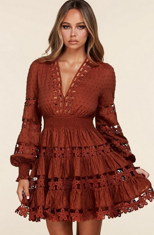 Rust Crochet Long Sleeves Lace Mini Dress 1