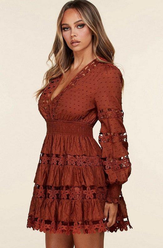 Rust Crochet Long Sleeves Lace Mini Dress 2