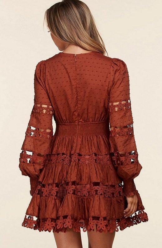 Rust Crochet Long Sleeves Lace Mini Dress 3