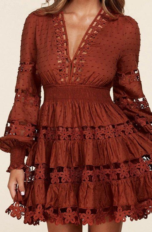 Rust Crochet Long Sleeves Lace Mini Dress 4