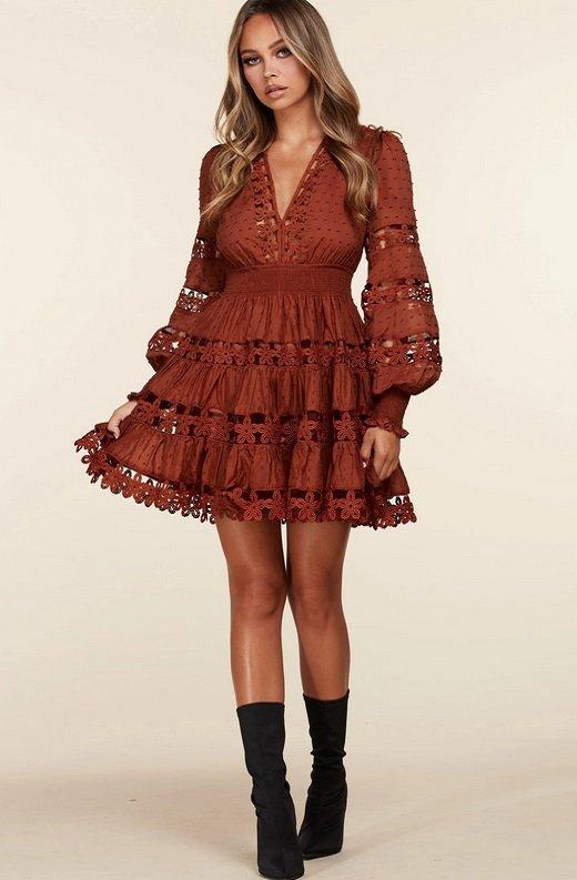 Rust Crochet Long Sleeves Lace Mini Dress 5