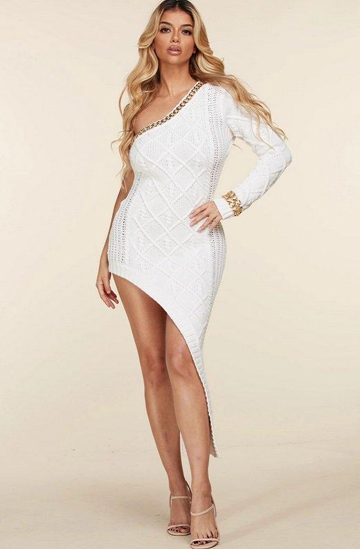 White Cable Knit Sweater Midi Dress 1
