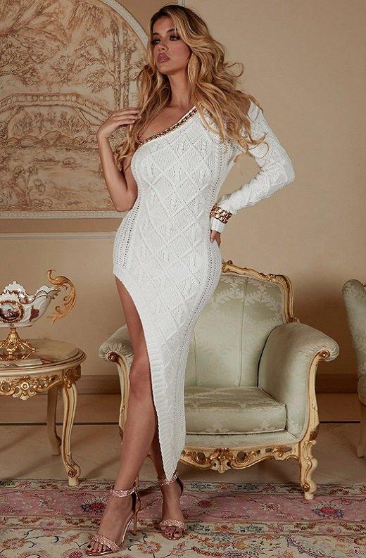 White Cable Knit Sweater Midi Dress 2
