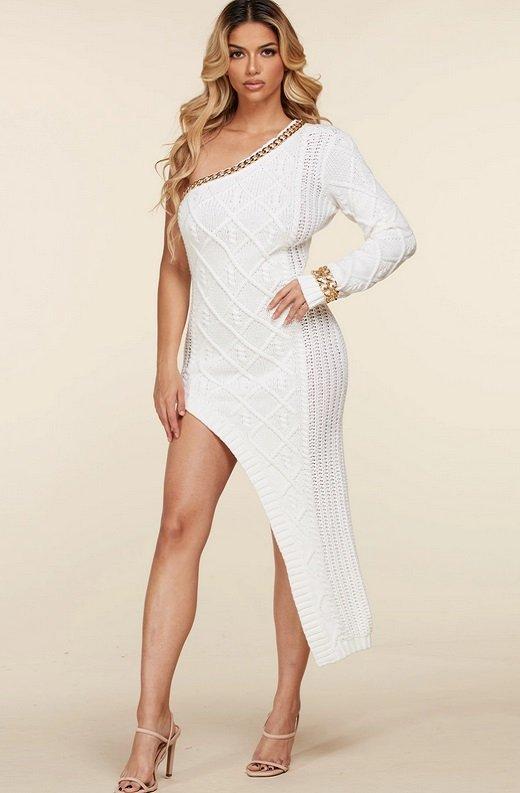 White Cable Knit Sweater Midi Dress 3