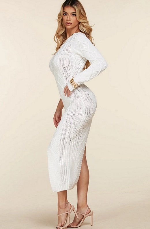 White Cable Knit Sweater Midi Dress 5