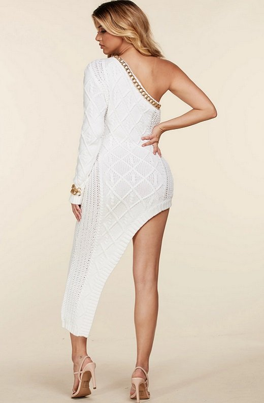 White Cable Knit Sweater Midi Dress 6
