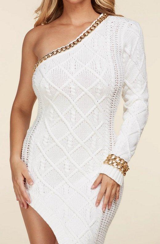 White Cable Knit Sweater Midi Dress 7