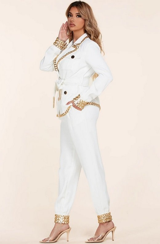 White Fitted Gold Chains Tapered Pants Blazer Set 3