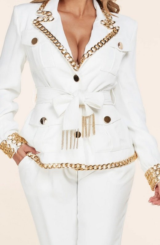 White Fitted Gold Chains Tapered Pants Blazer Set 5