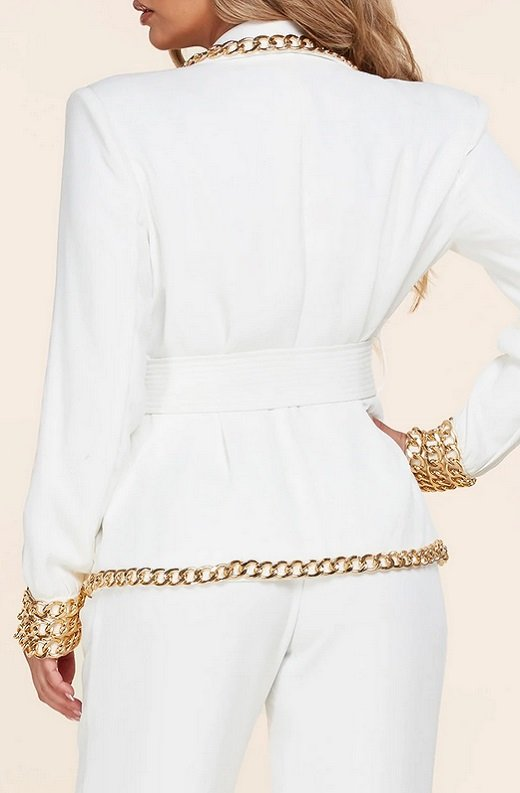 White Fitted Gold Chains Tapered Pants Blazer Set 6