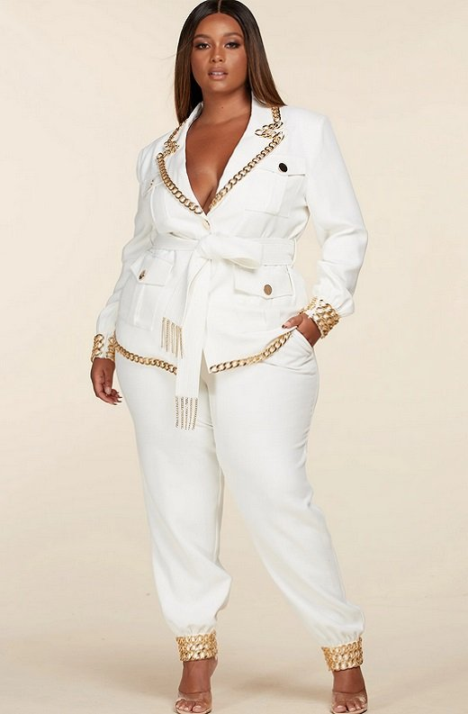 White Fitted Gold Chains Tapered Pants Blazer Set Plus Size 1