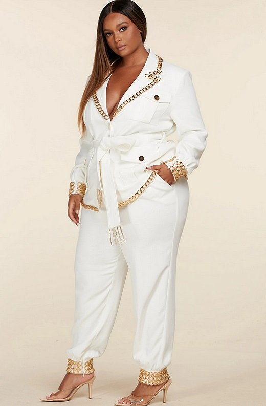 White Fitted Gold Chains Tapered Pants Blazer Set Plus Size 2