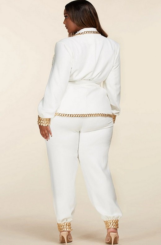 White Fitted Gold Chains Tapered Pants Blazer Set Plus Size 3