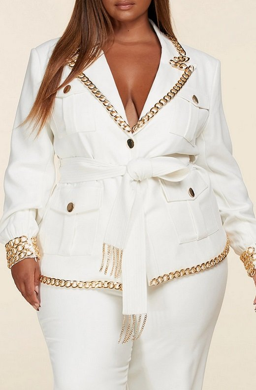 White Fitted Gold Chains Tapered Pants Blazer Set Plus Size 4