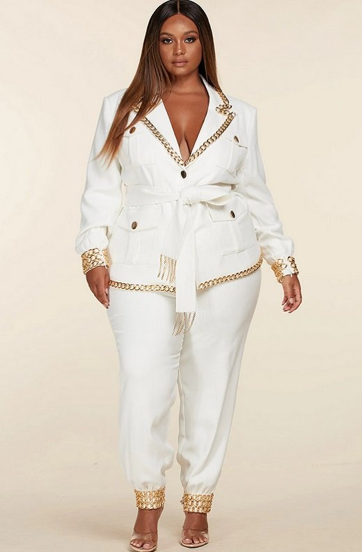 White Fitted Gold Chains Tapered Pants Blazer Set Plus Size 5