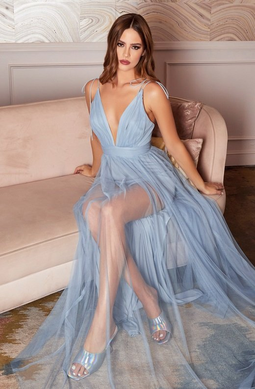 Baby Blue Sheer Mesh Tulle Tie Strap Maxi Dress 2