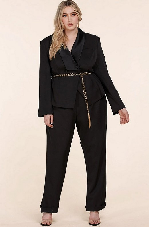 Black Double Breasted Blazer Gold Belted Jumpsuit Set Plus Size 1