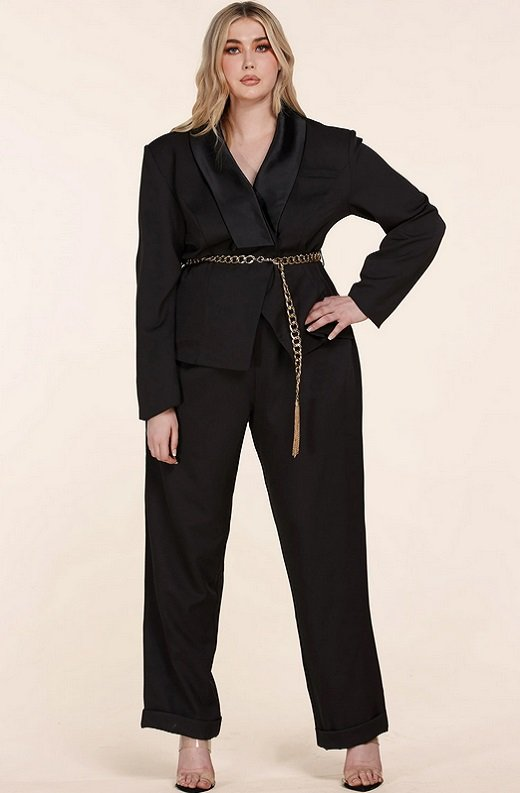 Black Double Breasted Blazer Gold Belted Jumpsuit Set Plus Size 2