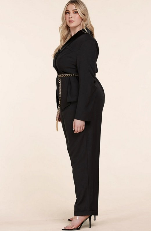 Black Double Breasted Blazer Gold Belted Jumpsuit Set Plus Size 3