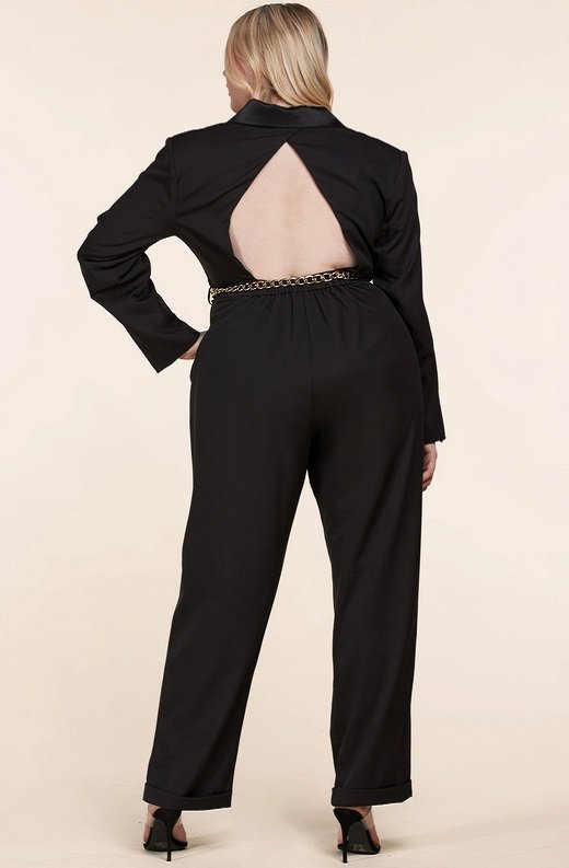 Black Double Breasted Blazer Gold Belted Jumpsuit Set Plus Size 4
