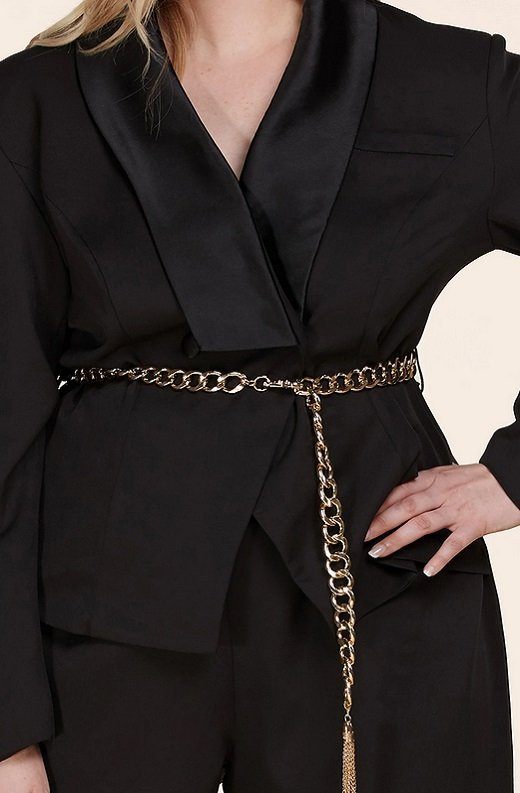 Black Double Breasted Blazer Gold Belted Jumpsuit Set Plus Size 5