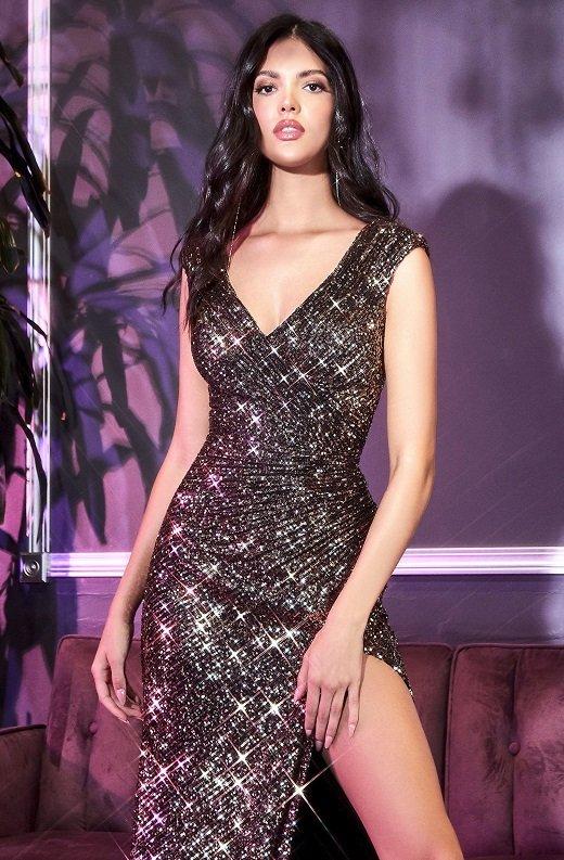 Black Gold Iridescent Sequins Hourglass High Waist Slit Gown 1