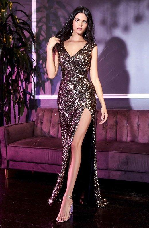 Black Gold Iridescent Sequins Hourglass High Waist Slit Gown 2
