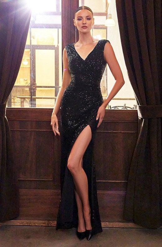 Black Iridescent Sequins Hourglass High Waist Slit Gown 1