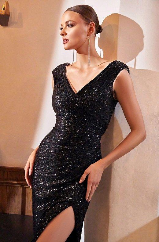 Black Iridescent Sequins Hourglass High Waist Slit Gown 2