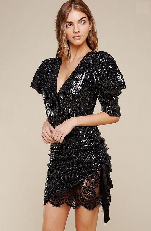Black Lace Sequins Puff Short Sleeves Ruched Dress 1
