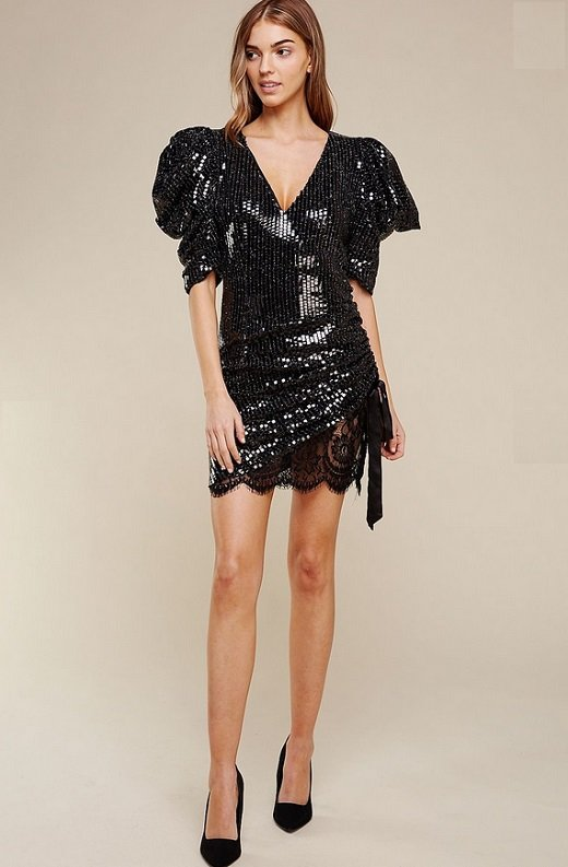 Black Lace Sequins Puff Short Sleeves Ruched Dress 6