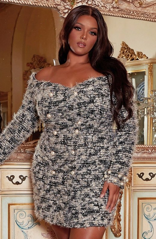 Black Lurex Double Breasted Long Sleeves Pearls Plus Size 1