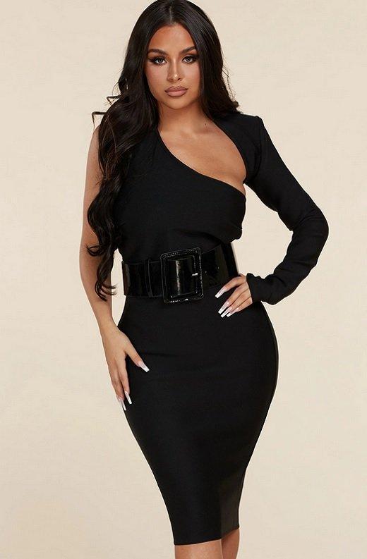 Black Open Shoulder Waist Knit Belted Dress 1