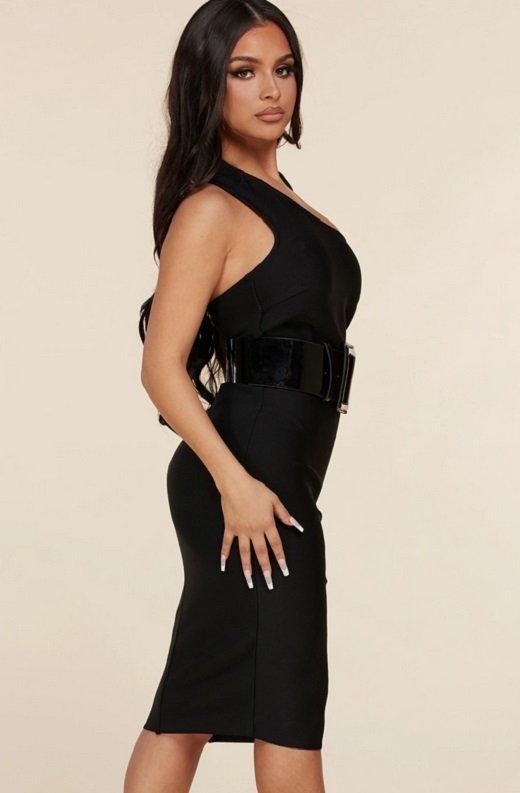 Black Open Shoulder Waist Knit Belted Dress 2