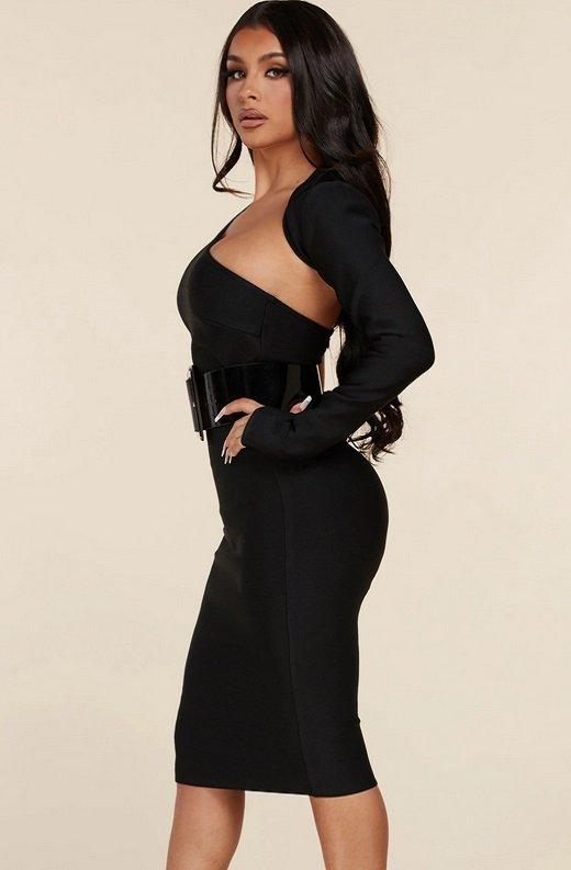 Black Open Shoulder Waist Knit Belted Dress 3