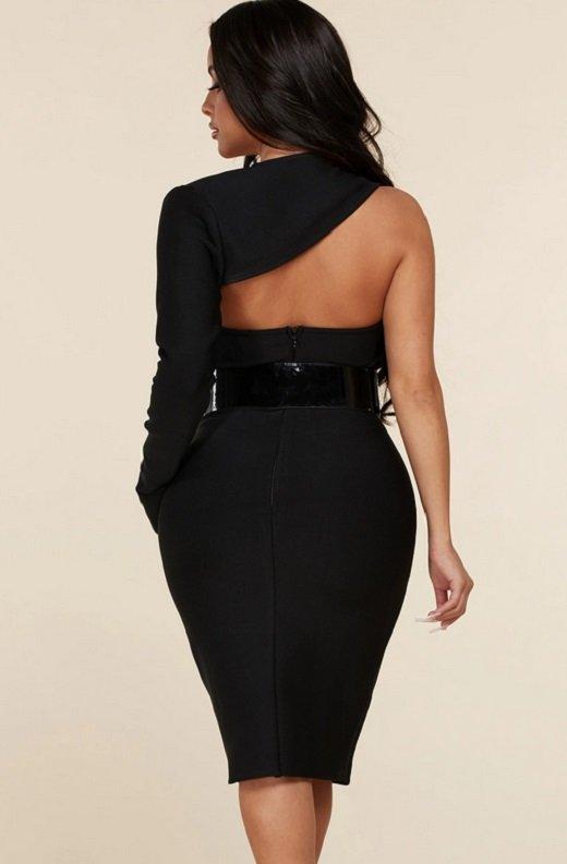 Black Open Shoulder Waist Knit Belted Dress 4