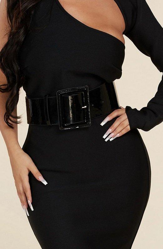 Black Open Shoulder Waist Knit Belted Dress 5