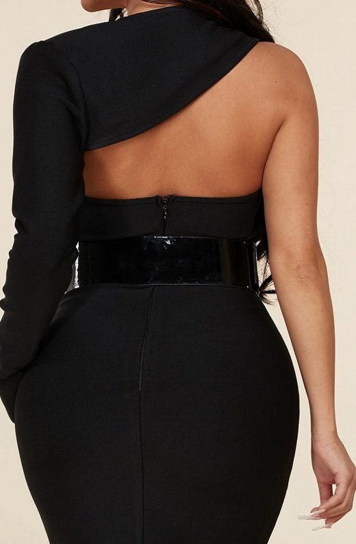Black Open Shoulder Waist Knit Belted Dress 6