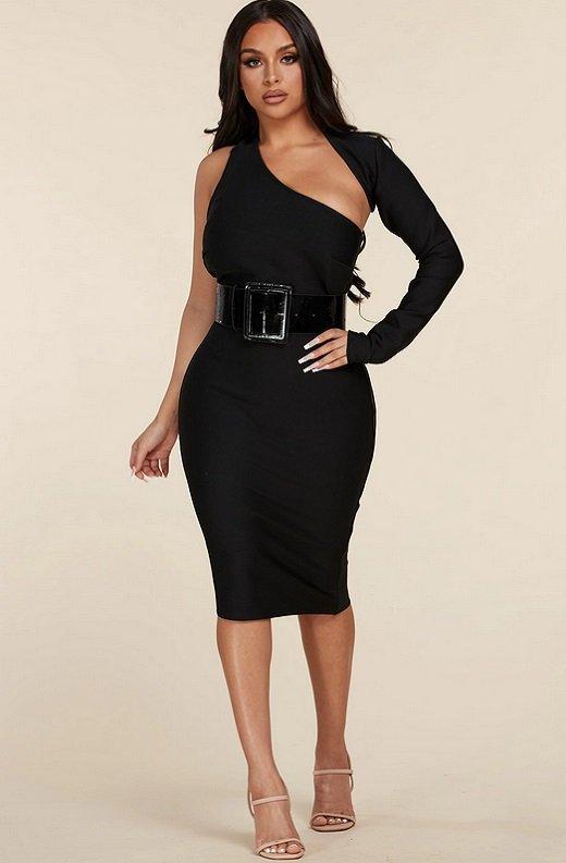 Black Open Shoulder Waist Knit Belted Dress 7