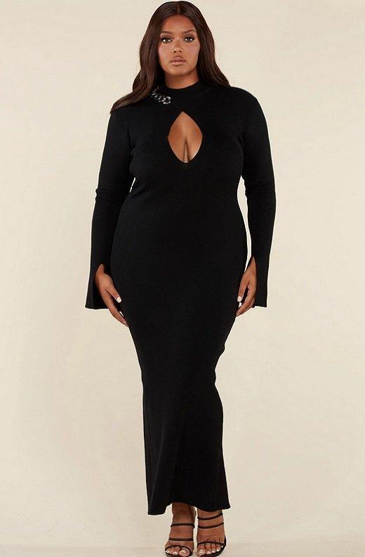 Black Ribbed Knit Shoulder Chain Maxi Dress Plus Size 2