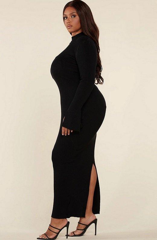 Black Ribbed Knit Shoulder Chain Maxi Dress Plus Size 3