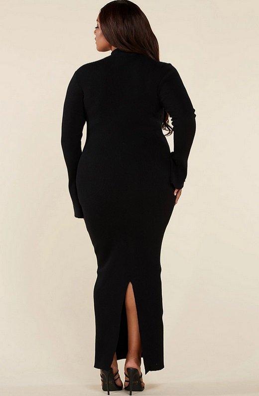 Black Ribbed Knit Shoulder Chain Maxi Dress Plus Size 4
