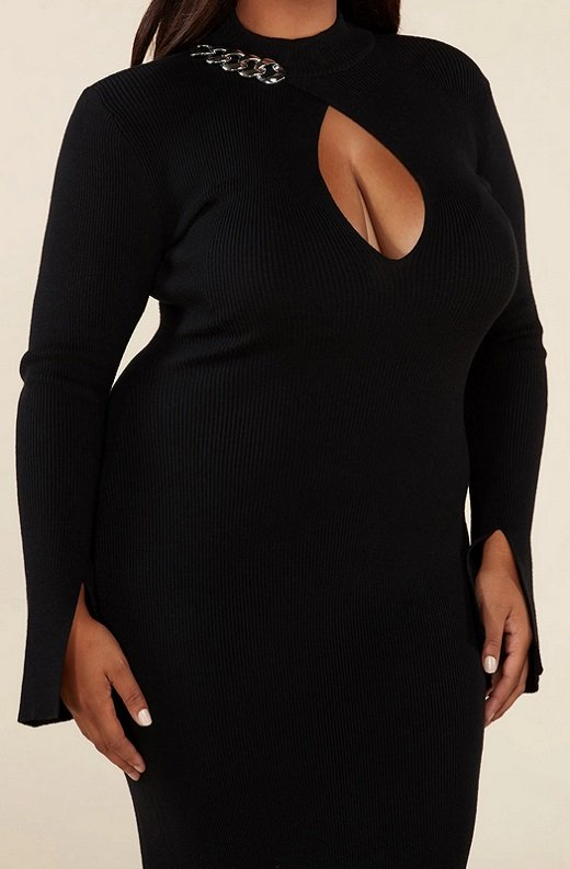 Black Ribbed Knit Shoulder Chain Maxi Dress Plus Size 5