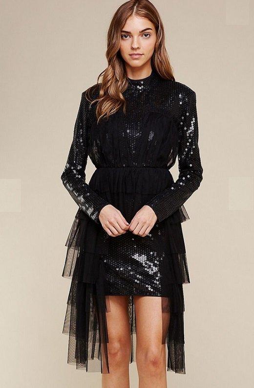Black Sequins Long Sleeves Waist Mesh Dress 2