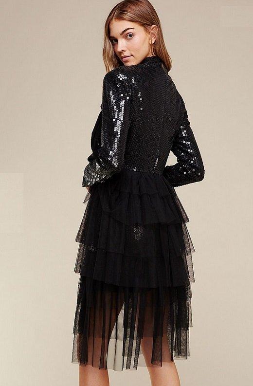 Black Sequins Long Sleeves Waist Mesh Dress 3