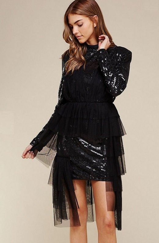 Black Sequins Long Sleeves Waist Mesh Dress 4
